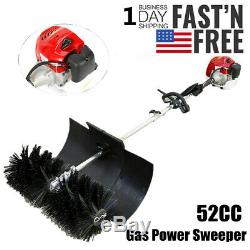 52cc Gas Power Sweeper Hand Held Broom Cleaning Driveway Turf Grass 1700W USA