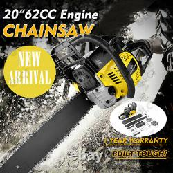 62CC 2 Stroke Gas Powered Chainsaw, 20-Inch 3.5 HP Handheld Gasoline+Carry Bag