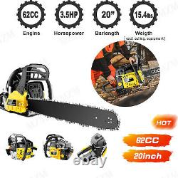 62CC Gas Powered Chainsaw, Full Crank 2 Cycle Handheld Gasoline Chain Saw Tool