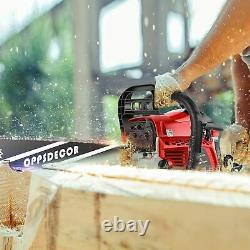 62cc Gasoline Powered Chainsaw, 20'' Guide Board Handheld Petrol Chain Saw New