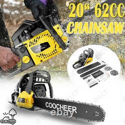 COOCHEER Chainsaw, 62CC 2 Stroke Gas Powered 20-Inch 3.5 HP and Handheld Gasoline