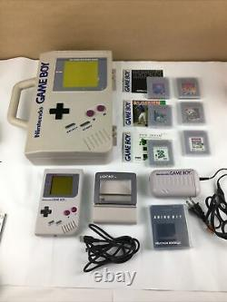 Nintendo Gameboy Lot Handheld 6 Games Power Cord Shaped Case Link Cable Light