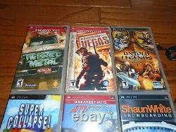 SILVER Sony PSP 2001 handheld console, V 6.60, with 10 games, power cable, MORE